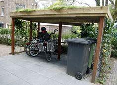 fietsenstalling sedum dak at DuckDuckGo Bike Shelter, Bike Cover, Bike Shed, Bike Store, Backyard, Patio, Acer Palmatum, Decoration, Wood Crafts
