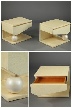 A pair of 1980s beige lacquered wood night stands with one drawer, by Jean-Claude Mahey and Eric Maville. They are decorated with brass trim and globes.