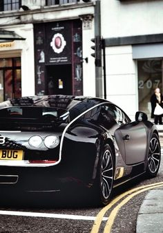 This little beaut is the car of all cars. It's capable of reaching 0-60 mph in 2.5 seconds. And is the fastest street legal car #Bugatti