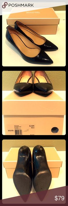 """Michael Kors Kitten Pump Patent Black Leather These sophisticated pair of Michael Kors Flex Black Patent Leather Kitten Pumps have been worn twice, and come with original box and wrapping paper. Heel height is 2.25"""". No trades please. Happy Poshing! :) KORS Michael Kors Shoes Heels"""