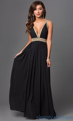 Shop long black backless dresses with low V-necks at SimplyDresses. Floor length open back black prom gowns with glitter strap details for formals.
