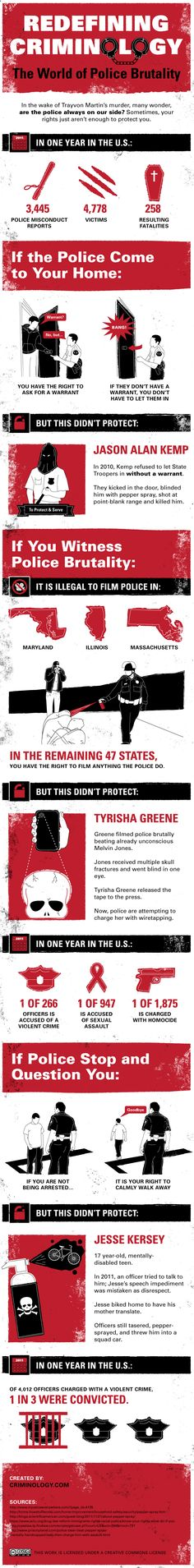 Know Your Rights - Police Brutality Statistics in the US... You can always demand their name and badge number and insist they call their supervisor to the scene if you have any qualms about their ethics.