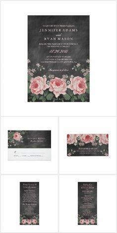 Chalkboard Floral Wedding Suite This wedding suite features a chalkboard and floral graphic