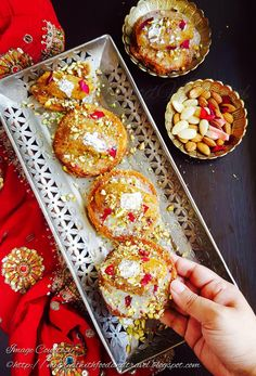 My Tryst With Food And Travel: Shahi Tukra & Moong Dal Halwa Canapés Recipe / Holi Recipes ~ Holi Hai ! Holi Recipes, Sweets Recipes, Cooking Recipes, Indian Dessert Recipes, Indian Sweets, Indian Recipes, Dessert Ideas, Shahi Tukda Recipe
