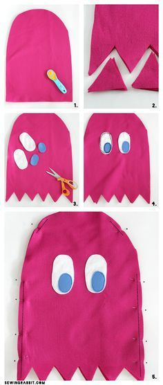 Pac-Man Ghost Easy Costume DIY via /mesewcrazy/ | Easy DIY Costume | Halloween Costume Ideas We have a Ms. Pacman table top arcade game that my daughter plays all the time with her dad. This would make a cute Halloween costume this year!