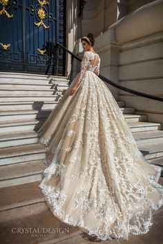 crystal design 2017 bridal long sleeves deep plunging v neck full embellishment bodice princess sexy ball gown a  line wedding dress keyhole back monarch train (chantale) bv