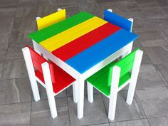 How to Build a Wooden Play Table and Chair Set for Kids, With Storage Kids Table And Chairs, Play Table, Kid Table, Table And Chair Sets, Pallet Furniture Designs, Diy Furniture Plans, Kids Furniture, Pallet Kids, Toddler Chair