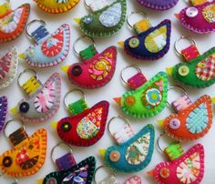 Wholesale Lot of 8 Eco Friendly Felt Bird Keychains Embroidery Cute Embroidery