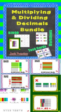All the practice you need to ensure that your students master multiplying and dividing decimals - printables, task cards, and Bingo! Math Teacher, Teaching Math, Math Literacy, Creative Teaching, Numeracy, Teaching Ideas, Math Help, Fun Math, Math Resources