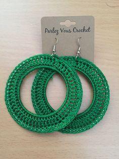 Green Crochet Earrings (Hoops) Baby Afghan Crochet, Baby Afghans, Crochet Accessories, Jewelry Patterns, Leather Earrings, Crochet Projects, Diy Jewelry, Diy And Crafts, Crochet Earrings