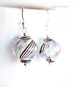 Sterling Silver Earrings with Brown Swirl Hand Blown Hollow Glass Bead,Sweet Bubbles Earrings,Birthday,Summer,Gift for her,Everyday Jewelry