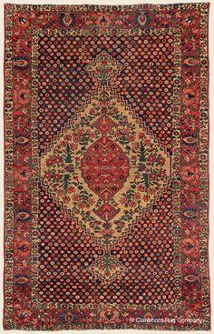 "BAKHTIARI BIBIBAF, 4' 6"" x 7' 0"" — Late 19th Century, Central Persian Antique Rug - Claremont Rug Company"