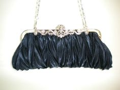 *NEW* NAVY BLUE Pleated Line Evening Clutch handbag Bag | eBay