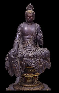 Wooden sitting Bosatsu statue (8-9century), property of Gantoku-ji temple, Kyoto: National Treasure of Japan 国宝 菩薩半跏像(伝如意輪観音)