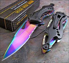 Rainbow Stainless Blade Knife Black Aluminum Handle Bottle Opener Glass Breaker- Folding Blade