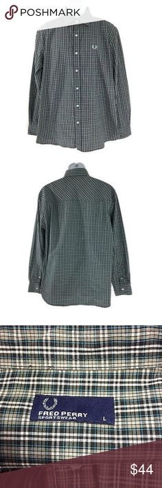Fred Perry Sportswear Shirt Button Front Plaid Size: Large. Material: Cotton. In great condition. Measurements laying flat: shoulder to shoulder: 19.5 inches. Pit to pit: 23 inches. Length: 29.5 inches. Sleeve: 25 inches. Fred Perry Shirts Casual Button Down Shirts
