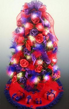 Decorated Red Hat Society Mini Tabletop Christmas Tree - 18 Inches - 35 Clear Mini Lights - Tree Skirt - Matching Presents. $39.00, via Etsy.