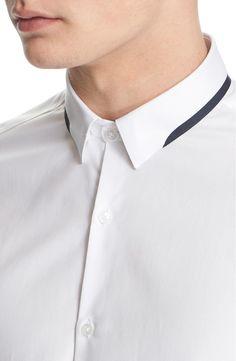 The Kooples Trim Fit Grosgrain Detail Cotton Piqué Dress Shirt Mens Designer Shirts, Designer Suits For Men, Designer Clothes For Men, Nigerian Men Fashion, Indian Men Fashion, Formal Shirts, Casual Shirts, Shirt Collar Styles, Collar Shirts