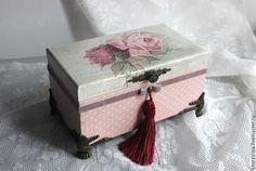 Купить Шкатулка для украшений - розовый, розы, винтаж, для украшений, подарок девушке, кисточка, в горошек