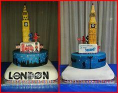 cake design London shadows and Big Ben - torta ombre Londra