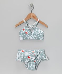 Gray Silhouette Flower Ruffle Bikini - Infant, Toddler & Girls | Daily deals for moms, babies and kids