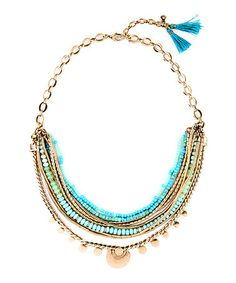 Look at this #zulilyfind! Blue & Goldtone Tassel Polly Layered Bib Necklace #zulilyfinds