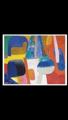 """Maurice Estève - """"Beurdinu"""", 1961 - Huile sur toile - 33 x 41 cm (*)"""