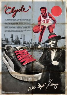 Walt Frazier Clyde, yes I had the original Clyde Puma! nike New York Knicks Basketball Pictures, Sports Basketball, Sports Art, Basketball Posters, Sports Posters, Basketball Legends, Walt Frazier, Beastie Boys, Models