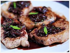 Pork chops with grapes and taragon.  Easy, delicious, and pretty healthy too!
