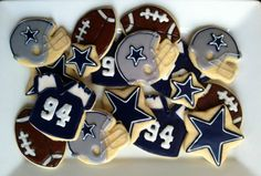 Dallas Cowboys - NFL Cookies - Football Cookies - Party Favors - Wedding - Grooms Table - Decorated Sugar Cookies. $35.00, via Etsy.
