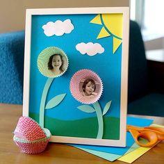 Cupcake wrapper flower photo display