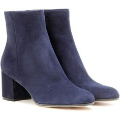 Gianvito Rossi Margaux Mid Suede Ankle Boots (€850) ❤ liked on Polyvore featuring shoes, boots, ankle booties, blue, suede bootie, blue booties, bootie boots, suede ankle booties and short suede boots