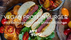 Veganer Protein Burger mit selbstgemachten Dinkelbrötchen - Hamburger vegan