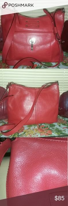 KATE SPADE BUTTER SOFT RED LEATHER Just beautiful inside and out, one small scratch on top barely noticeable.  A generous 10 in tall by 12 in wide with 21 in crossbody strap. Super soft glove butter soft leather, looks brand new!!! kate spade Bags Shoulder Bags