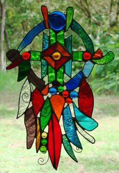 American Indian Inspired Dreamcatcher Hand Crafted Stained Glass LG SUN Catcher | eBay FREE SHIPPING $129