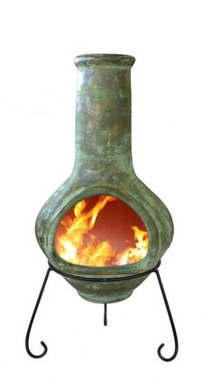 This Rustic Green Tibor Jumbo Mexican Clay chiminea is ideal for larger gardens and patio areas. Mexican clay chimineas are the best functioning burners of all