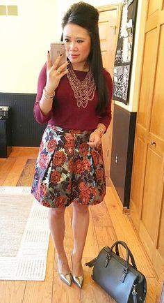 Bauble Bar bib necklace, JCrew Factory floral metallic skirt
