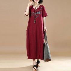 Summer Casual Jacquard Short Sleeves Red Dress