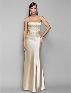 Trumpet/Mermaid Sweetheart Floor-length Stretch Satin Evening Dress (663686) - USD $ 118.49