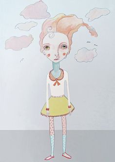 Cotton Candy Head in the Clouds Print 8X10 by DarcysLilustrations, $15.00
