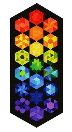 Additional Images of The New Hexagon by Katja Marek - My Rainbow Table Runner pinned from ConnectingThreads.com