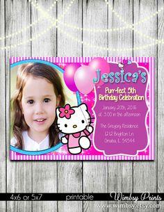 Hello kitty birthday invitation with photo add on hello by Wimbsy Hello Kitty Photos, Hello Kitty Items, Hello Kitty Birthday Invitations, Kitty Party, 3rd Birthday Parties, Party Invitations, Printables, Ads, Handmade Gifts