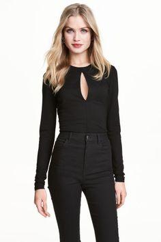 Боди с длинным рукавом - Черный - Женщины | H&M RU 1