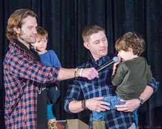 Jared holding Shep and Jensen holding Thomas who adores his uncle Jensen.