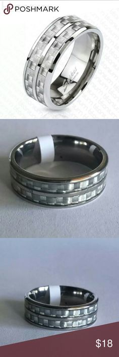 Titanium Carbon Fiber Ring This is for one, brand new, solid titanium men's ring. It features a double white/silver carbon fiber inlay around the band.   Sizes available: 8 or 10  Width: 8 mm Quantity: 1 Ring Material: Titanium  BENEFITS OF TITANIUM: Titanium is hypoallergenic and is often used in medical applications. If titanium won't cause a reaction when used inside the body for a total hip replacement, you can be pretty sure that your titanium ring won't give you a rash or turn your