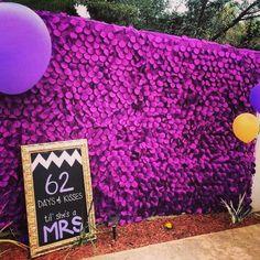 Bridal shower photo backdrop. Purple and gold shower #bridalshowersign