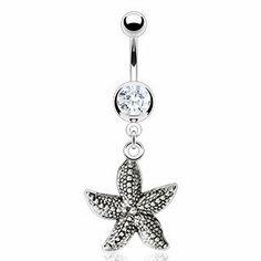 Body Accentz® Belly Button Ring Navel Starfish Dangle Body Jewelry 14 Gauge http://shorl.com/prijufrosubrujo
