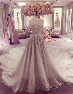 Elegant Off-White & Silver Occidental Bridal Dress | Stunning Embroidery Work & Traine | InstaPic