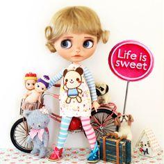 10-11 BEAUTIFUL krátkými blond panenka WIG pro Blythe podle FLEURDELYSDOLL