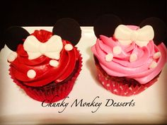Red Velvet with Cream Cheese Filling and Buttercream Frosting. Mickey and Minnie Cupcakes